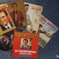 Discos de vinilo: MANOLO ESCOBAR (6 SINGLES) EDITADOS POR BELTER. AÑOS 60 Y 70. LLEVA UN BOLETO PUBLICITARIO CURIOSO.. Lote 203602247