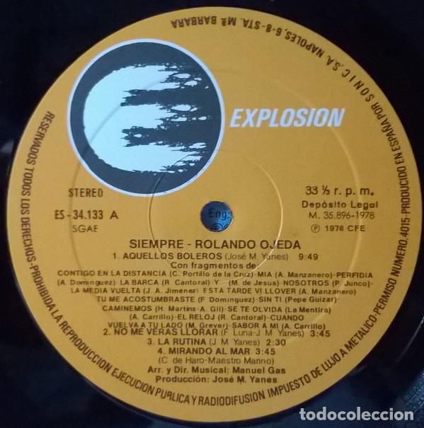Discos de vinilo: ROLANDO OJEDA * SIEMPRE * NUEVO de 1978 (El Rey del Bolero) * Carpeta Gatefold - Foto 6 - 22456809