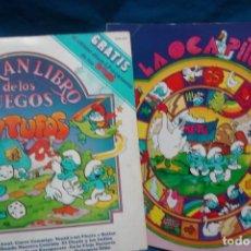 Discos de vinilo: EL GRAN LIBRO DE LOS JUEGOS PITUFOS + JUEGO LA OCA PITUFA - COLUMBIA 1981. Lote 203832965