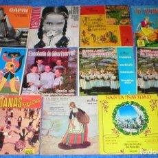 Discos de vinilo: GRAN LOTE 11 SINGLES DISCOS VINILOS 1960S 1970S EN CATALA CUENTOS EN CATALAN ESCOLANIA DE MONTSERRAT. Lote 203875938