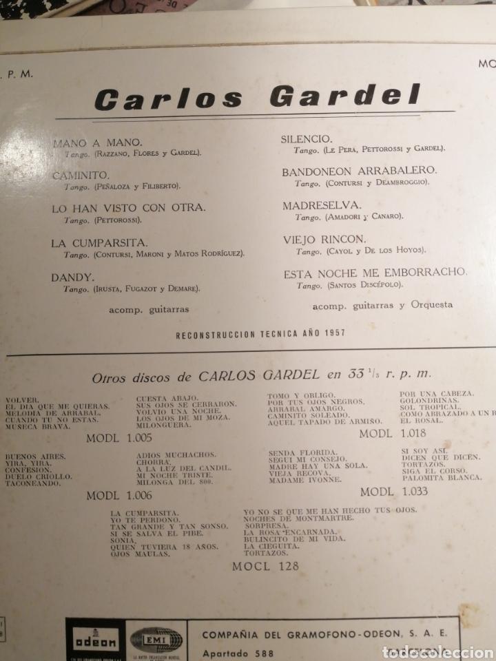 Discos de vinilo: Carlos Gardel LP como nuevo Odeón EMI editado 1958 - Foto 2 - 203885162
