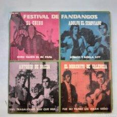 Discos de vinilo: FESTIVAL DE FANDANGOS. EL CHINO. ANTONIO DE BAEZA. EL MORENITO DE VALENCIA. ADOLFO EL SEGOVIANO.. Lote 203895280