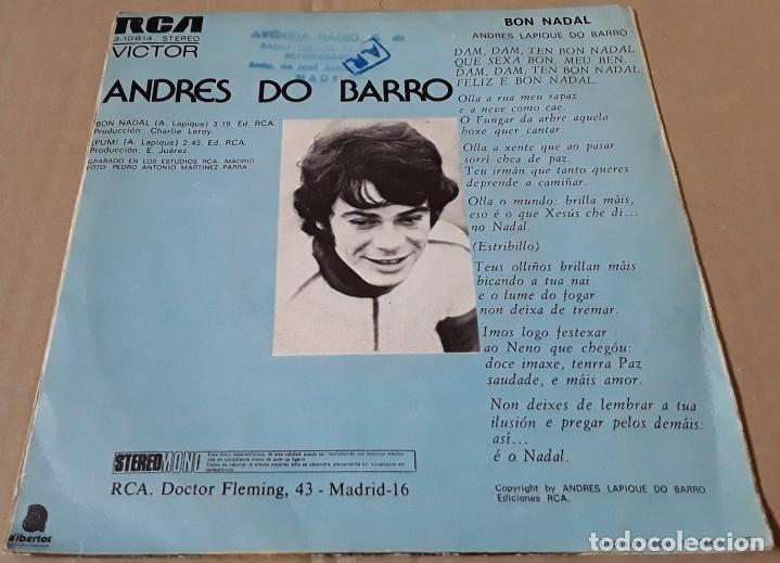 Discos de vinilo: SINGLE- ANDRÉS DO BARRO - BON NADAL - ANDRÉS DO BARRO - BON NADAL - PUM - Foto 2 - 203910450