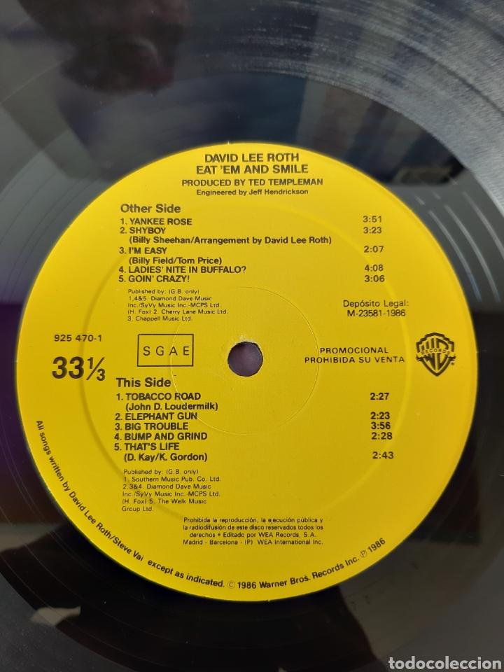 Discos de vinilo: DAVID LEE ROTH. EAT EM AND SMILE. PROMOCIONAL . WB RECORDS. 1986. SPAIN. - Foto 3 - 203977196
