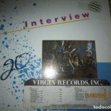Discos de vinilo: INTERVIEW - INTERVIEW LP - ORIGINAL U.S.A. - PROMO - VIRGIN RECORDS 1980 LABEL BLANCA. Lote 203987642