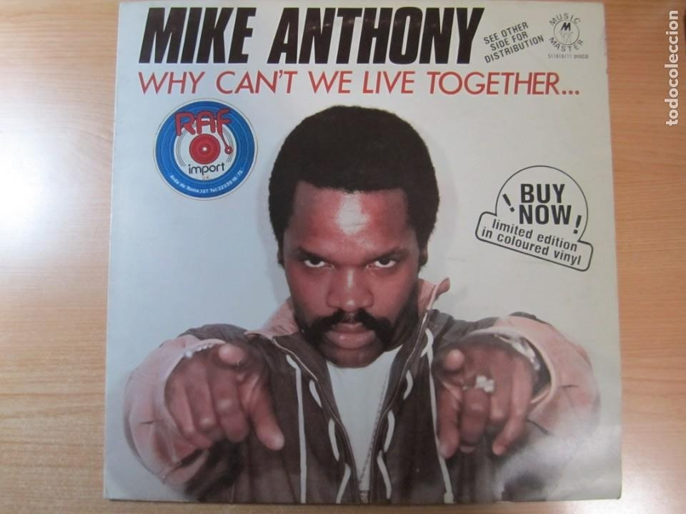 DISCO VINILO MIKE ANTHONY WHY CANT'T WE LIVE TOGETHER COLOR BLANCO (Música - Discos de Vinilo - Maxi Singles - Disco y Dance)