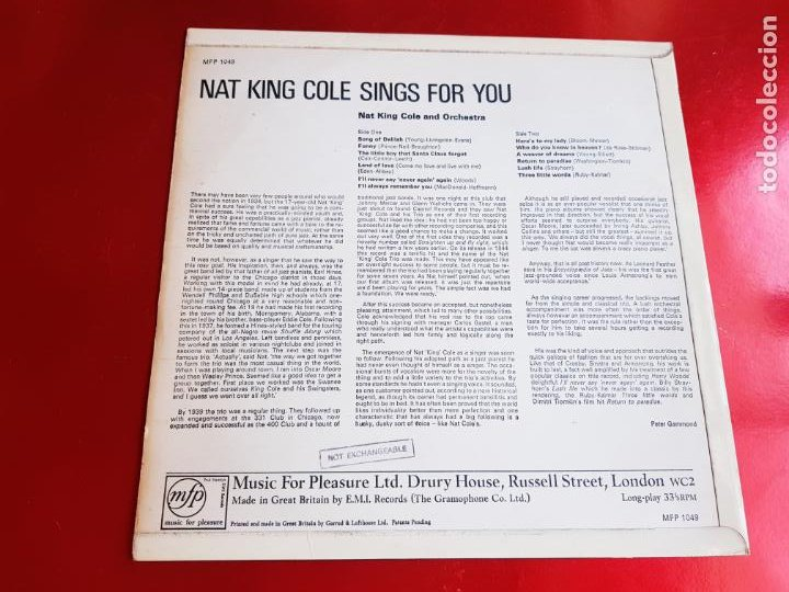 Discos de vinilo: LP-NAT KING COLE-SINGS FOR YOU-12 TEMAS-INGLÉS-EXCELENTE ESTADO-ANTIGUO-VER FOTOS. - Foto 5 - 204097333