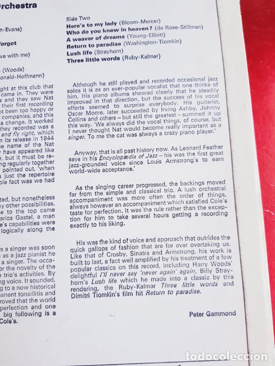 Discos de vinilo: LP-NAT KING COLE-SINGS FOR YOU-12 TEMAS-INGLÉS-EXCELENTE ESTADO-ANTIGUO-VER FOTOS. - Foto 8 - 204097333