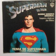 Disques de vinyle: JOHN WILLIAMS BSO SUPERMAN EL FILM, TEMA PRINCIPAL, TEMA DE AMOR DE SUPERMAN, (WARNER BROS 1979). Lote 204106305