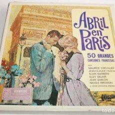 Discos de vinilo: ABRIL EN PARIS 50 GRANDES CANCIONES FRANCESAS,4 DISCOS LP DE VINILO. Lote 204150012
