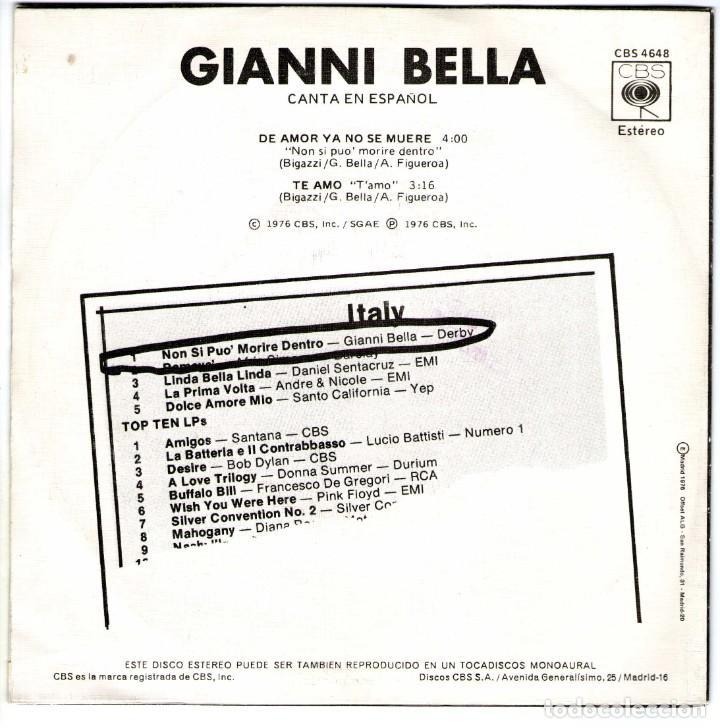 Discos de vinilo: GIANNI BELLA DE AMOR YA NO SE MUERE TE AMO - Foto 2 - 204155061