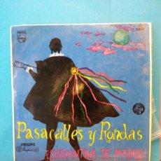 Discos de vinilo: PASACALLES Y RONDAS. ESTUDIANTINA DE MADRID. PHILIPS.. Lote 204256345