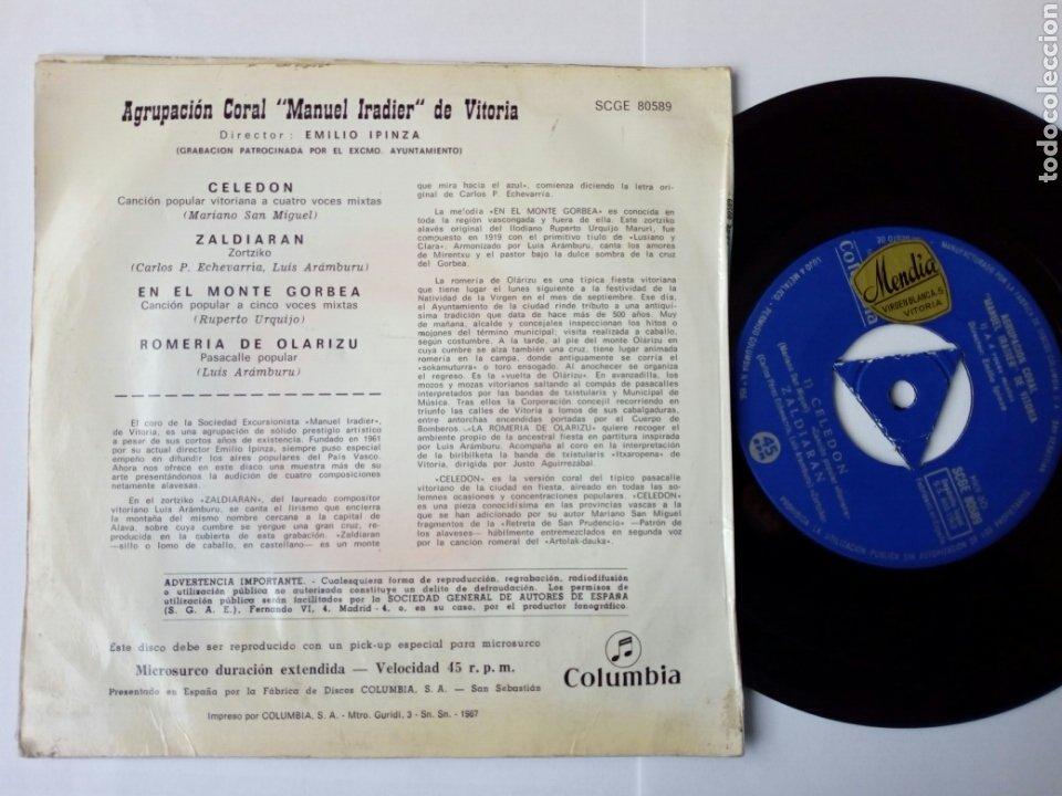 Discos de vinilo: EP: AGRUPACION CORAL MANUEL IRADIER DE VITORIA (Columbia 1963) Celedón, En el monte Gorbea + 2 - Foto 3 - 204384555
