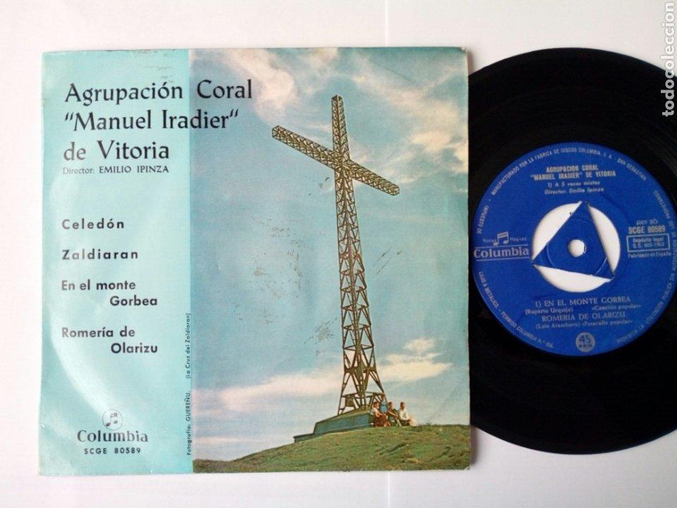 EP: AGRUPACION CORAL MANUEL IRADIER DE VITORIA (COLUMBIA 1963) CELEDÓN, EN EL MONTE GORBEA + 2 (Música - Discos de Vinilo - EPs - Otros estilos)