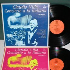 Discos de vinilo: CLAUDIO VILLA LOTE 2 LPS SPAIN 1980 CONCIERTO A LA ITALIANA VOL 1 & 2 RAROS LATIN POP VOCAL FOLK EX. Lote 204498857