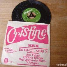 Discos de vinilo: VINILO MISS X. S.E.X. CHRISTINE ODEON. MADE IN GERMNANY. Lote 204515092