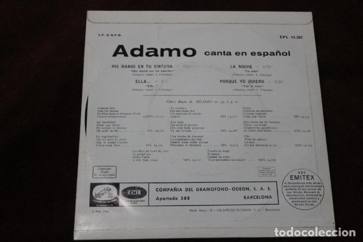 Discos de vinilo: ADAMO CANTA EN ESPAÑOL, SINGLE, MIS MANOS EN TU CINTURA, EMI, 1966 - Foto 2 - 204600323