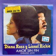 Discos de vinilo: SINGLE, DIANA ROSS Y LIONEL RICHIE AMOR SIN FIN. Lote 204684085