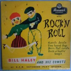 Dischi in vinile: BILLY HALEY & HIS COMETS. RAZZLE DAZZLE/ TWO HOUND DOGS/ BURN THAT CANDLE + 1. BRUNSWICK UK 1956 EP. Lote 204730502