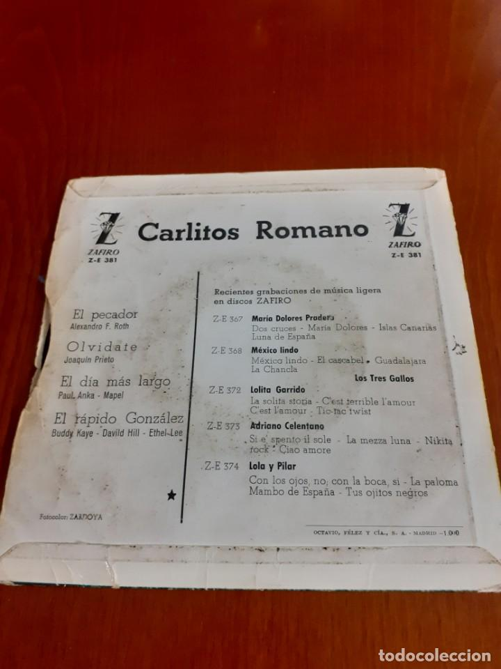 Discos de vinilo: disco de Vinilo single de carlitos romano - Foto 4 - 204739483