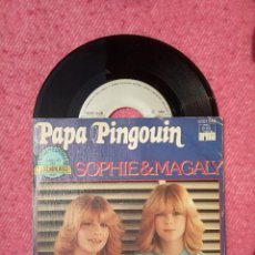 Discos de vinilo: SINGLE SOPHIE & MAGALY - PAPA PINGOUIN - ARIOLA 5101 546 - PORTUGAL PRESS (VG++/NM) EUROVISION 80. Lote 204802038