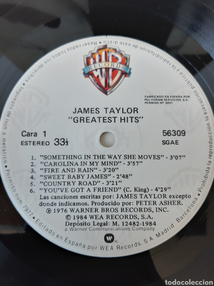 Discos de vinilo: JAMES TAYLOR. GREATEST HITS. WB. Wea. 1984. Spain - Foto 3 - 204980515