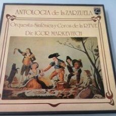 Discos de vinilo: ANTOLOGIA DE LA ZARZUELA. ORQUESTA Y COROS RTVE. DIR. IGOR MARKEVITCH. 2 LPS. FONOGRAM.. Lote 205032835