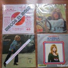 Discos de vinilo: 1 EP Y 3 SINGLES KARINA // EN UN MUNDO NUEVO CANTADO EN INGLES - ALEMAN Y ESPAÑOL + 1 EP PORTUGAL. Lote 205085452