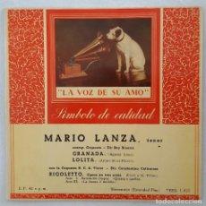 Discos de vinilo: EP / MARIO LANZA / GRANADA - LOLITA - RIGOLETTO / LA VOZ DE SU AMO 1957. Lote 205197588
