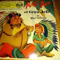 Discos de vinilo: CUENTO EN VINILO PETER PAN Y EL GRAN JEFE DE WALT DISNEY. Lote 205262143