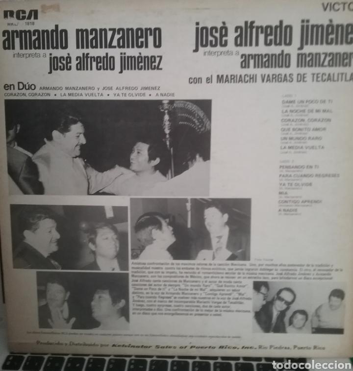 Discos de vinilo: JOGE ALFREDO JIMENEZ, ARMANDO MANZANERO LP SELLO RCA VÍCTOR EDITADO EN PUERTO RICO - Foto 2 - 205270785