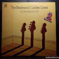 Discos de vinil: THE SHADOWS - 20 GOLDEN GREATS - 20 GRANDES EXITOS - DOBLE LP - ESPAÑA - PORTADA SE ABRE - 1977. Lote 205288977