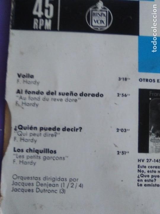 Discos de vinilo: MUY RARO EP. FRANÇOISE HARDY - Spain. VOILA/AL FONDO DEL SUEÑO DORADO + 2 . Disques vogue HV 27-172 - Foto 5 - 205322325