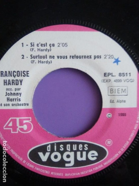 Discos de vinilo: MUY RARO EP. FRANÇOISE HARDY Si cest ça/Quils sont hereux +2. AÑO1966 Vogue EPL 8511 FRANCIA - Foto 9 - 205323075