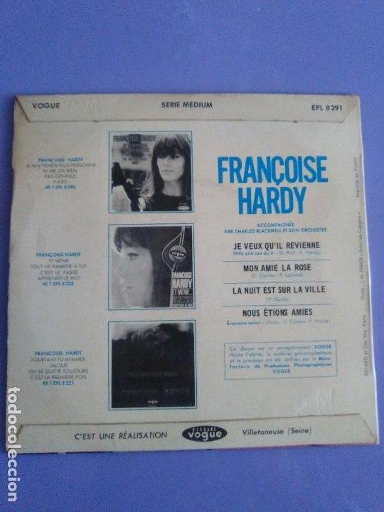 Discos de vinilo: EP. FRANÇOISE HARDY/JE VEUX QUIL REVIENNE/MON AMIE LA ROSE/LA NUIT EST SUR LA VI.FRANCIA.1964 - Foto 6 - 205325445