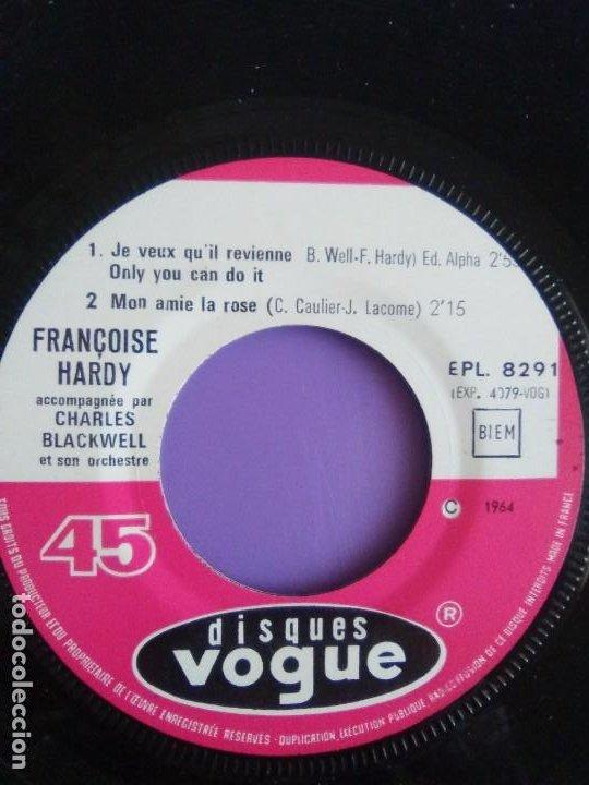 Discos de vinilo: EP. FRANÇOISE HARDY/JE VEUX QUIL REVIENNE/MON AMIE LA ROSE/LA NUIT EST SUR LA VI.FRANCIA.1964 - Foto 8 - 205325445