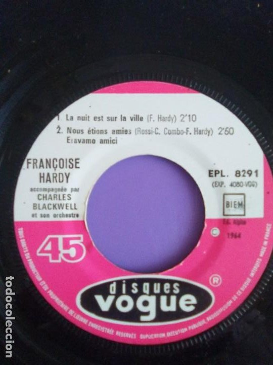 Discos de vinilo: EP. FRANÇOISE HARDY/JE VEUX QUIL REVIENNE/MON AMIE LA ROSE/LA NUIT EST SUR LA VI.FRANCIA.1964 - Foto 9 - 205325445