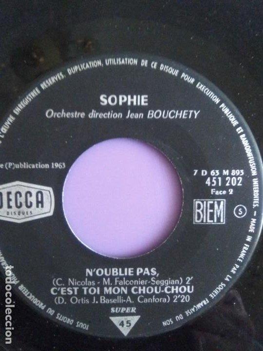 Discos de vinilo: EP 1963 CHICA YE YE 60s.Francia.Sophie.Tes Pas Seul Au Monde/Noublie Pas/Cest Toi Mon Chou-chou+1 - Foto 6 - 205325998
