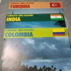 Discos de vinil: LOTE 3 LP FOLKLORE DEL MUNDO COLOMBIA TURQUÍA INDIA. Lote 205371155