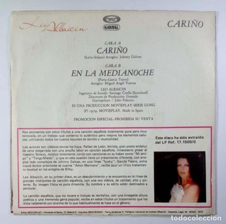 Discos de vinilo: LEO ALBAICIN - cariño / en la media noche - SINGLE 1979 - MOVIEPLAY - Foto 2 - 205433376