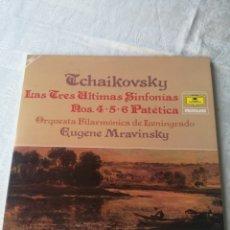 Discos de vinilo: TCHAYKOVSKY. LAS TRES ÚLTIMAS SINFONIAS. N°S 4-5-6 PATÉTICA.EUGENE MRAVINSKY.DEUTSCHE GRAMMOPHON. LP. Lote 205474093