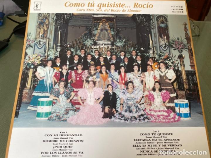 Discos de vinilo: ANTIGUO LP COMO TÚ QUISISTE... ROCIO CORO NTRA SRA DEL ROCIO ALMONTE - Foto 2 - 205513718
