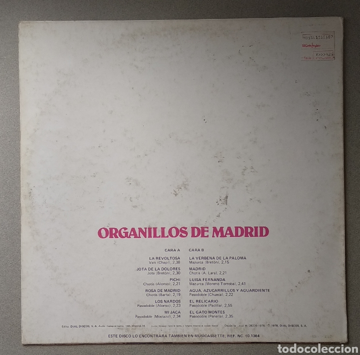 Discos de vinilo: Organillos de Madrid - Foto 2 - 205521042