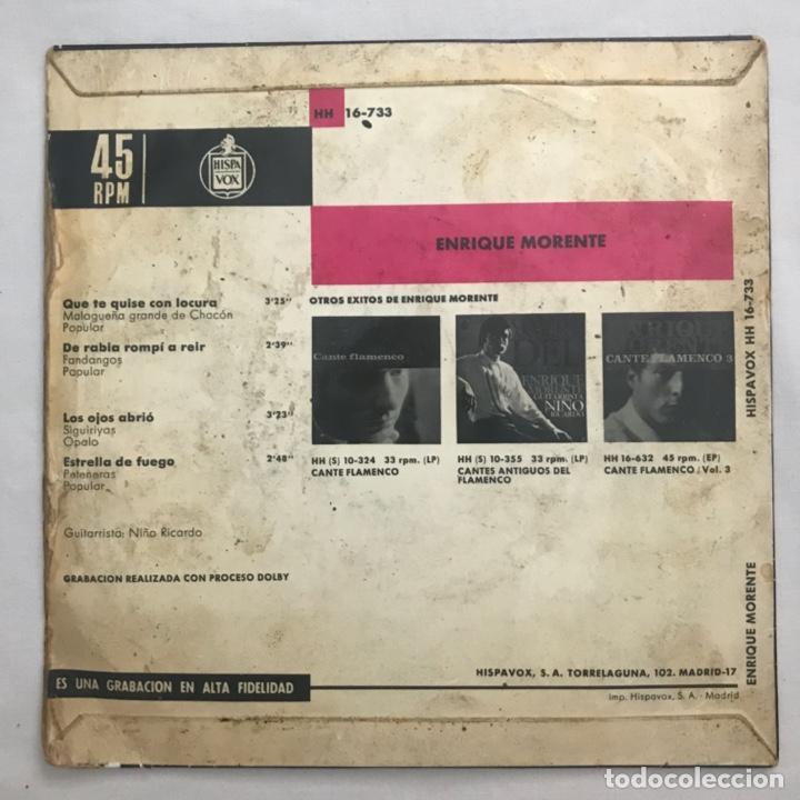 Discos de vinilo: Enrique Morente , Malageña grande de chaco fandangos, GUITARRA NIÑO RICARDO 1970 - Foto 2 - 205601957