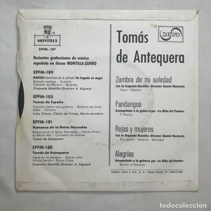 Discos de vinilo: Tomas De Antequera Zambra De Mi Soledad Fandangos Rejas Y Mujeres Alegrías 1961 - Foto 2 - 205603580