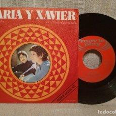 Discos de vinilo: MARIA Y XAVIER - MIÑA RULIÑA / AS FESTAS NOS POBOS - SINGLE MOVIEPLAY ?AÑO 1970 EXCELENTE ESTADO. Lote 205606405