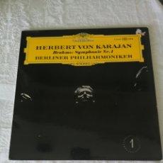 Discos de vinil: BRAHMS. SINFONÍA N°1. HERBERT VON KARAJAN. ORQUESTA FILARMONICA DE BERLÍN. DUTSCHE GRAMMOPHON. LP.. Lote 205672461