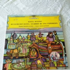 Discos de vinilo: RAVEL. BOLERO. MUSSORGSKY-RAVEL. CUADROS DE UNA EXPOSICIÓN. HERBERT VON KARAJAN. DEUTSCHE G. LP.. Lote 205673587
