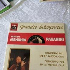 Discos de vinilo: CONCIERTOS PARA VIOLÍN Y ORQUESTA, N°1 Y 2, OP. 6 Y 7. PAGANINI. YEHUDI MENUHIN. EMI. LP.. Lote 205674290