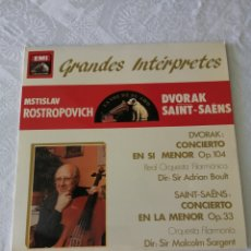 Discos de vinilo: MTISLAV ROSTROPOVICH.DVORAK CONCIERTO EN SI MENOR OP. 104, SAINT-SAENS.CONCIERTO LA MENOR OP.33.LP.. Lote 205679063